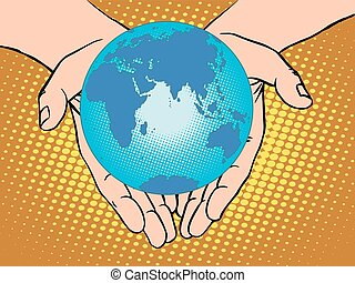 eurasien, australia, europ, afrikas, planet, antarktis, erde, hände