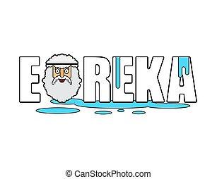 Eureka Archimedes face. Ancient greek mathematician,...