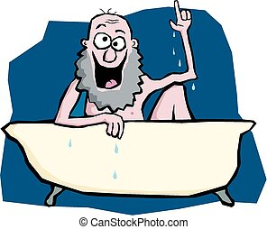 Cartoon image of Archimedes in the bath shouting eureka.