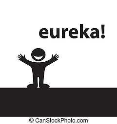 Eureka! Enlightened by the ideaa happy person. Vector.