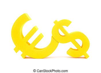 euro, à, dollar, symboles monétaires