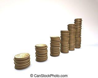 euro, érme, diagram, felett, white háttér