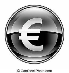 euro, ícone, pretas, isolado, branco, fundo