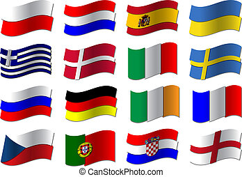 Euro 2012 football flags