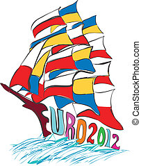 Euro 2012 Poland and Ukraine flags on sailing boat