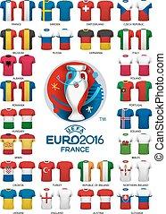 Euro 2016 football jerseys templates. Vector.