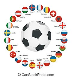 Euro 2016 France. Vector flags and groups. European football...