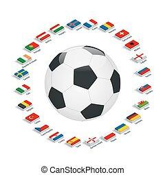 Euro 2016 France. Vector flags and groups. European football...