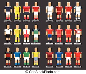 Euro 2016 Vector flat style infogra - Players of european...