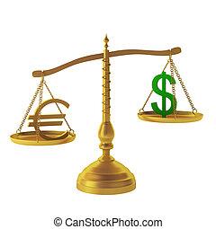 euro, 3d, dólar, render, escalas