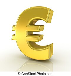 Euro 3d golden sign isolated