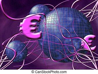 A free interpretation of money transfer over the internet, wireless transfers, the euro.