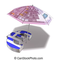 A sunshade covered with a 500 Euro banknote protects an Euro currency symbol with a greek flag on front from the sun