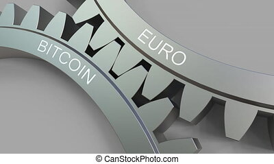 EURO and BITCOIN words on meshing gears. Forex conceptual animation