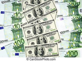 Euro and dollar banknotes. Financial concept.