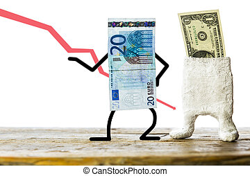 Euro and dollar, concept pegged market