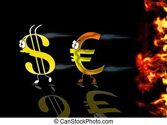 Euro and Dollar.