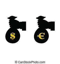 euro and dollar in bag with hand vector illustration