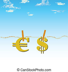 euro and dollar in the air