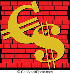 euro and dollar on wall illustratio