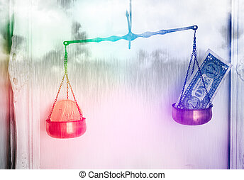 Euro and Dollar Parity - Financial Storm Concept