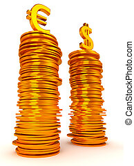 Euro and Dollar symbols over coins stacks