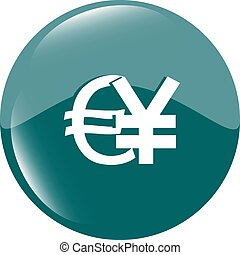 euro and yen money sign button, web icon vector illustration