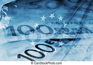 blue background with euro bills and european union flag symbolizing euro zone