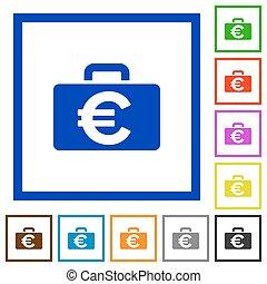 Euro bag framed flat icons