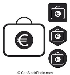 Euro bag icon set, monochrome