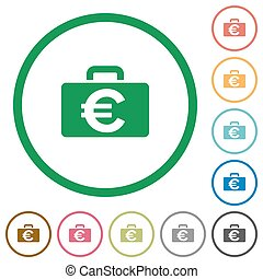 Euro bag outlined flat icons