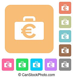 Euro bag rounded square flat icons
