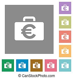 Euro bag square flat icons