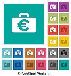 Euro bag square flat multi colored icons