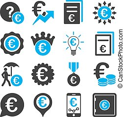 euro, banca, empresa / negocio, y, servicio, herramientas, iconos