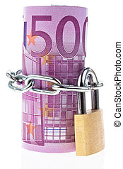Euro bank note closed with a chain - ? 500 banknote...
