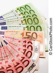 euro bank-note over white background