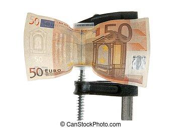 Euro bank note under pressure. Business crisis metaphor