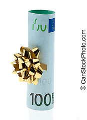 Euro bank notes as money gift with bow