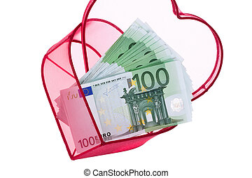Euro bank notes with a heart
