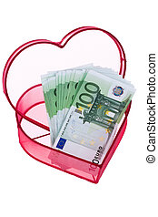 euro bank notes with heart