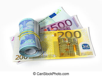 euro bank notes with roll isolaed on white backgrownd