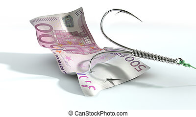 Euro Banknote Baited Hook - A concept image showing a five...
