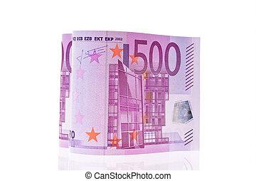 Euro banknote in a heart shape