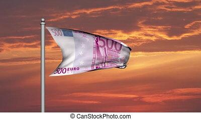 Euro banknote money flag at sunset