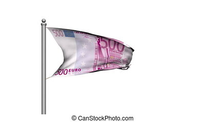 Euro banknote money flag on white background - Finance -...