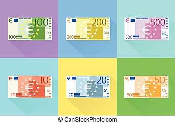 Euro Banknote Set Flat Design with Shadow Vector...