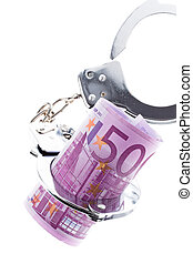 euro banknote with handcuffs