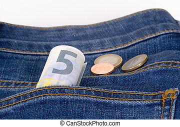 Euro Banknotes and Coins on Pocket