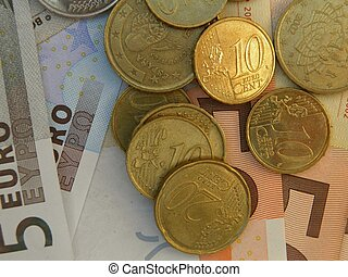 euro banknotes and coins - Euro (legal tender of the...